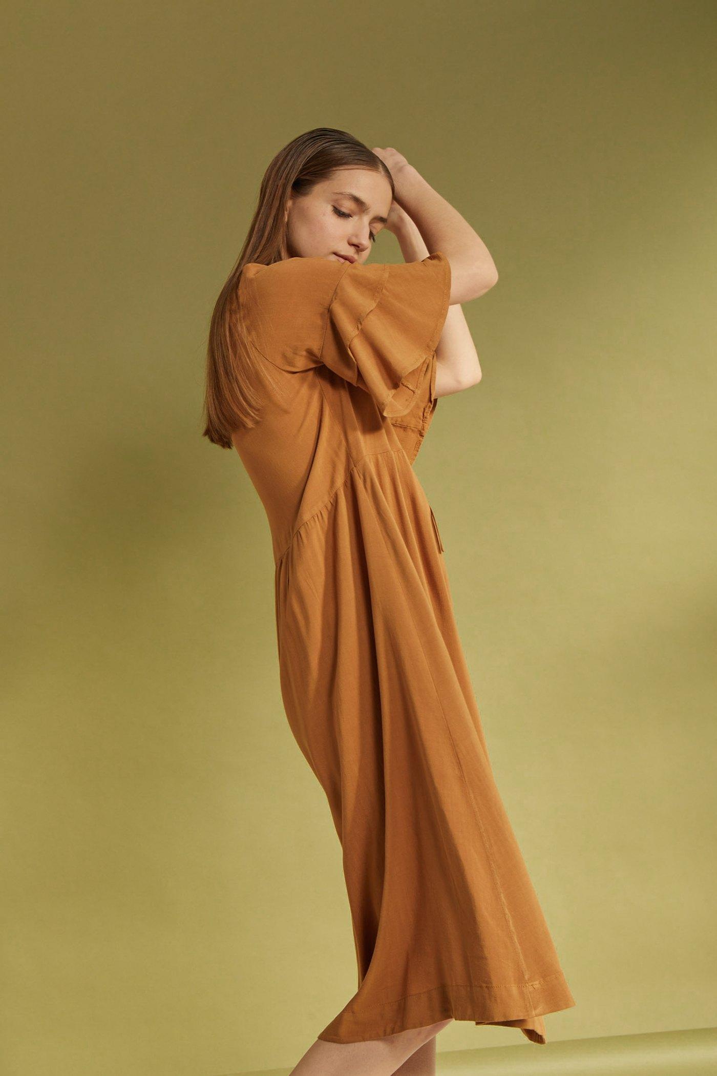 Vestido Ciruela Camel