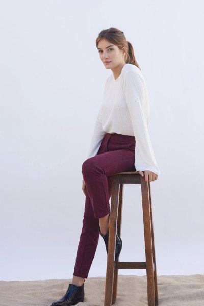 Pantalon Tamara bordeaux